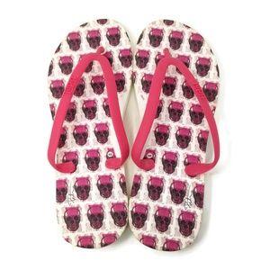 4fa16f850e2c89 NWOT Cute Tidal Pink Skull Flip Flops Size 6